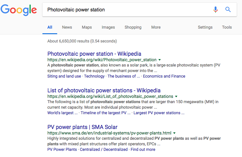 Google results top of page