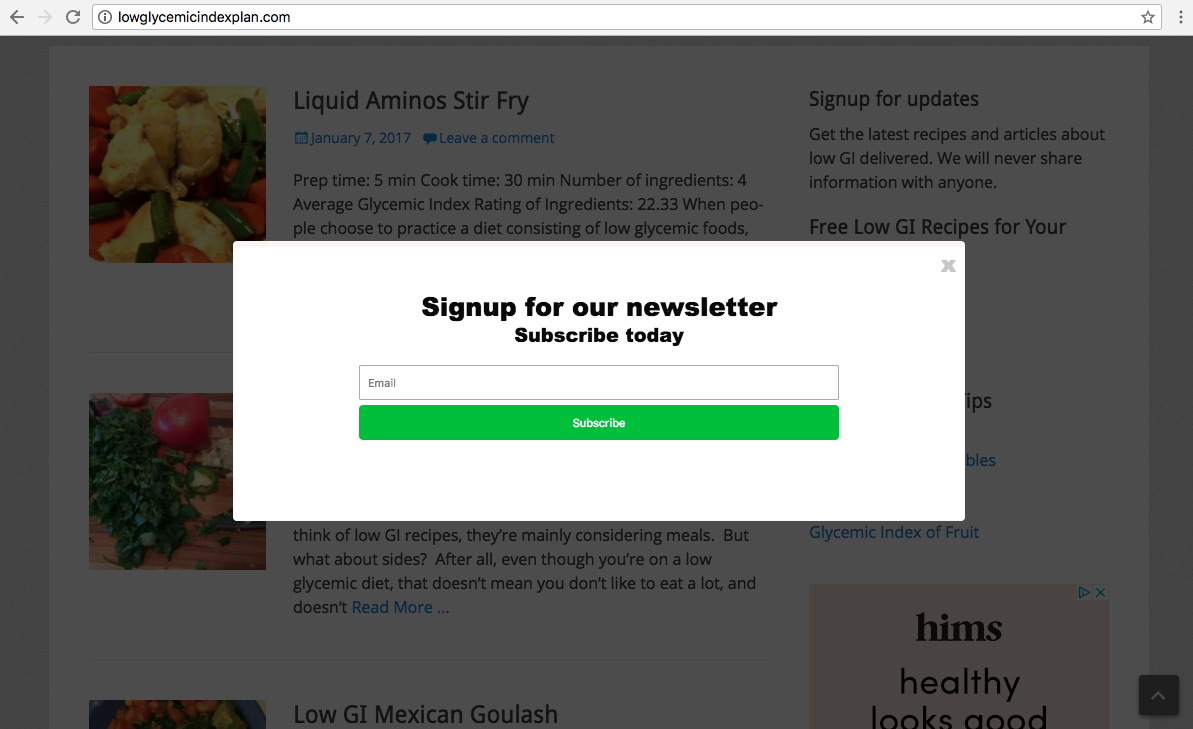 exit intent popup form Mautic and WordPress