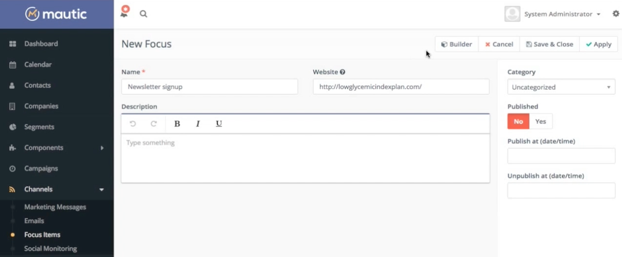 How to create an exit intent pop-up form using Mautic focus