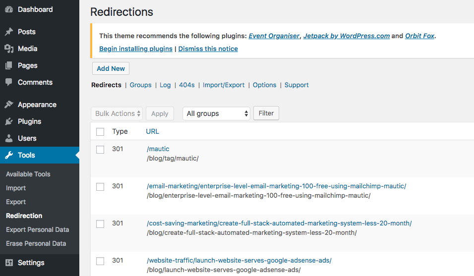 Wordpress Redirection plugin helps improve SEO