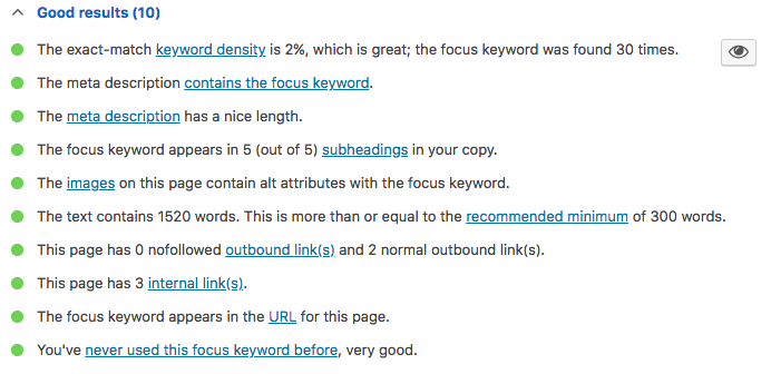 Yoast SEO results are good