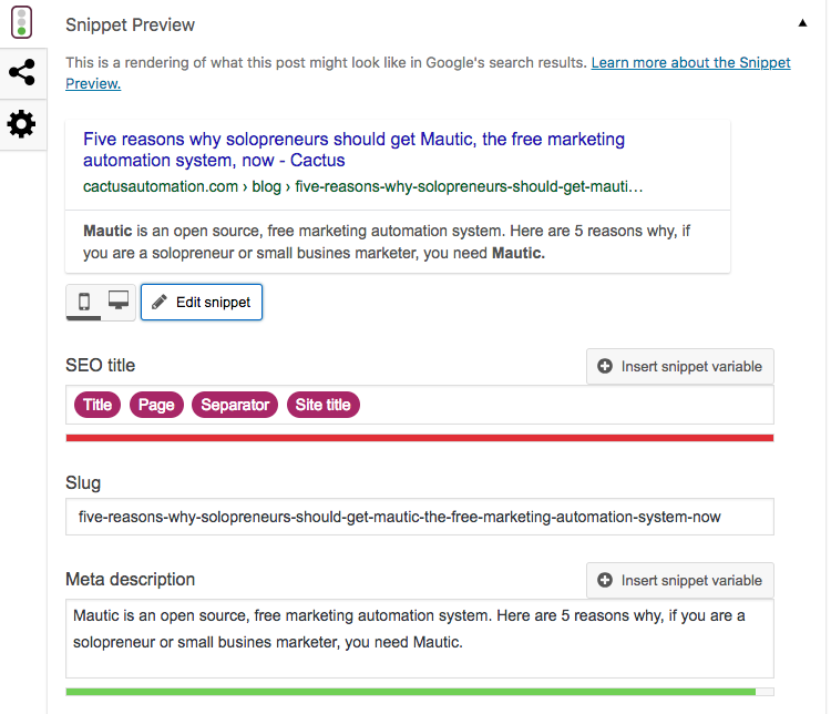 edit the meta description of your post for SEO