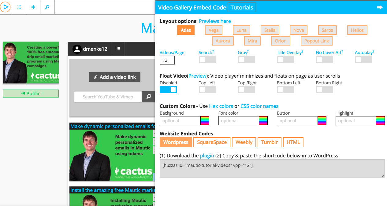 Huzzaz video gallery add-on with a customizable look