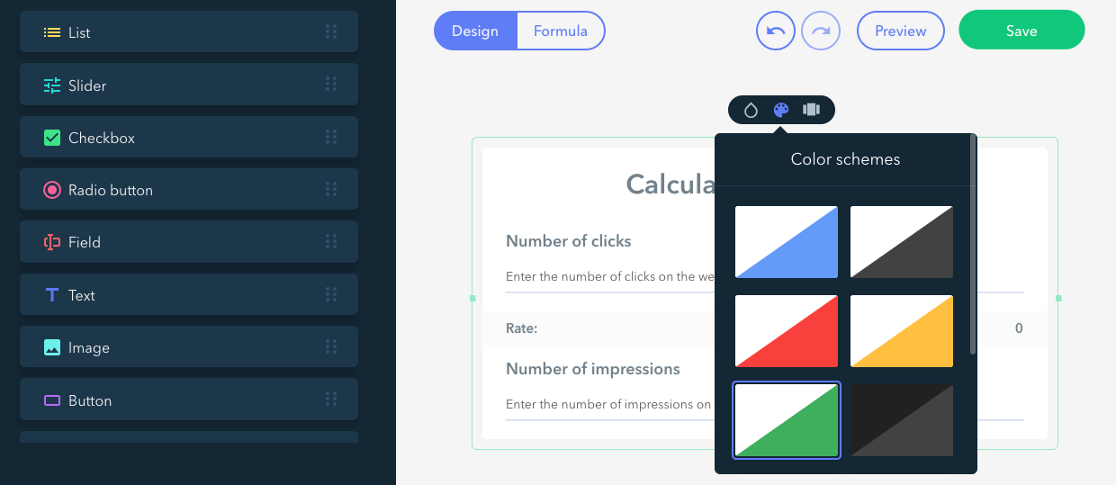 UCACL online calculator with a customizable design