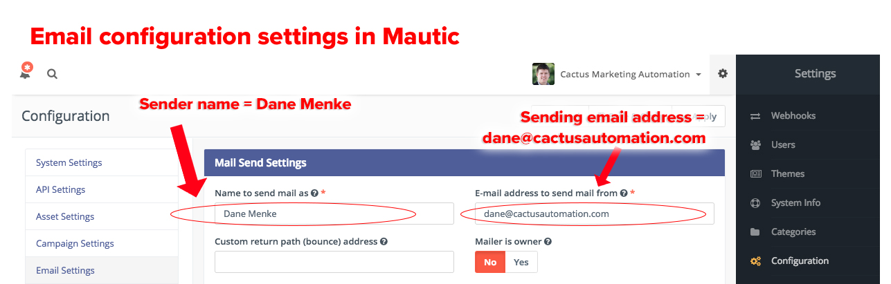 System settings in Mautic