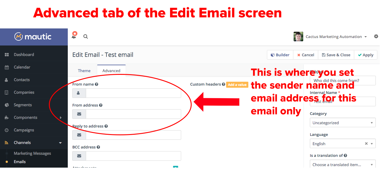 Mautic edit email screen