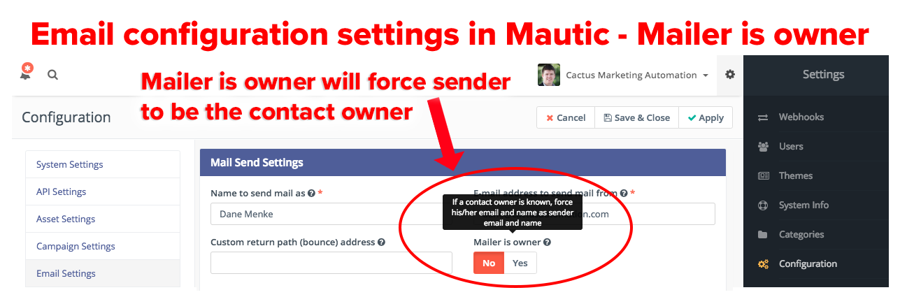 Mautic mailer is owner