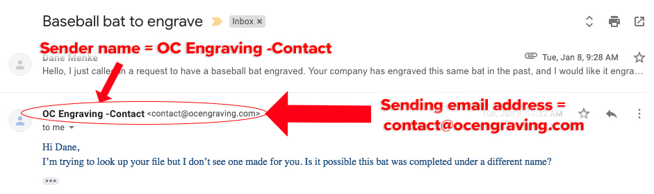 Example sender in email